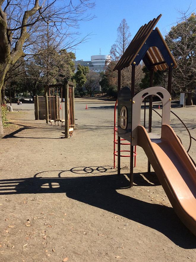 Iさんの子どもたちがよく遊んでいるという、近所の公園。娘さんの小学校受験前には、ここでジョギングをするのが日課だったという。