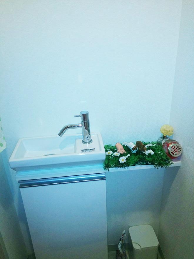 トイレには手洗いスペースや棚も設置されている。「楽しい気分になれるよう、棚にはディフューザーやちょっとした小物をディスプレイしています」。