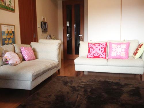 リビングのソファは前居で使っていたものを持ち込んだが、最近になって新しいものに買い替えたそう。「妻が作ったハワイアンキルトのクッションと一緒に使っています」。