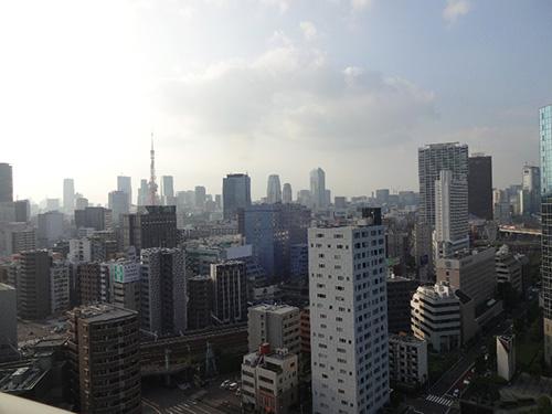 北向きのバルコニーに出れば、東京タワービューのロケーションを満喫することができる。