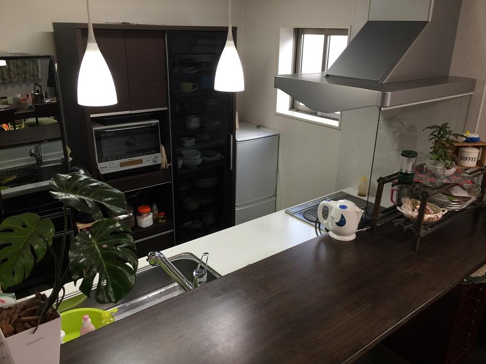 キッチンカウンターは、完成した料理の一時置きスペースとして重宝している。「たまに友人が来た時には、オードブルなどのパーティ料理を作ることもあります」。